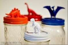 Dinosaur Topped Mason Jars - It All Started With Paint
