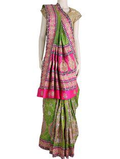 G3fashions Silk green wedding wear sari Product code: G3-WSA1418 Price: ₹ 12,710.00