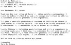 Rejecting Your Rejection