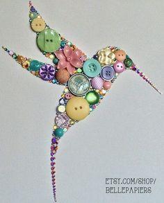 Button Art Swarovski Rhinestone Art Hummingbird Art on Etsy Crafts To Make, Fun Crafts, Arts And Crafts, Stick Crafts, Decor Crafts, Paper Crafts, Diy Buttons, Vintage Buttons, Crafts With Buttons