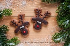 Reindeer biscuits- make gingerbread men and turn upside down!!