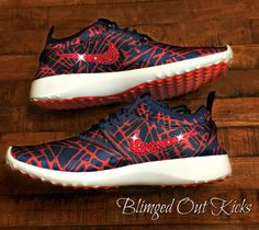 Nike Juvenate Loyal Blue/University Red with hand placed Swarovski crystal details by ShopBlingedOutKicks on Etsy