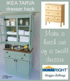 My Repurposed Life IKEA Tarva dresser hack to storage cabinet hutch