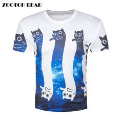 High quality New Fashion Space Galaxy T-shirt Men Women Short Sleeve T-shirt  Print Long Cat Cartoon T shirt Summer Tops Tees daab9a0a0204