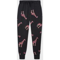 Paul Smith Women's Black 'Giraffe' Print Cotton Sweatpants ($350) ❤ liked on Polyvore featuring activewear, activewear pants, cotton activewear, cotton sweat pants, cotton sweatpants, ps paul smith and sweat pants
