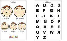 Pictogrammes des émotions et alphabet - les planches pour le cahier de communication à télécharger #Hoptoys #fretemplates
