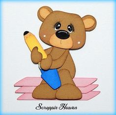 School Eraser Bear premade paper piecing for scrapbook pages layout boy girl