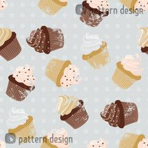 Seamless Pattern with Cupcakes and Polkadots    Designer: Martina Stadler, Austria    Available as a Download-File on www.patterndesigns.com