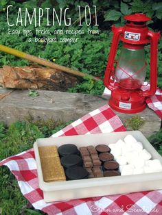 Create a smores box for camping with all of your favorites!  Saves on space and less garbage to pack away!