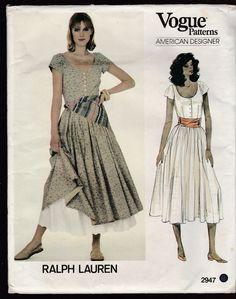 UNCUT Vogue 2947 Ralph Lauren Pattern Size 6 Misses Dress Petticoat Scarf  #Vogue