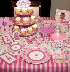 Adorable 1st Birthday Girl Party Supplies.  www.supplies.eventioneers.com #1stbirthdaypartysupplies
