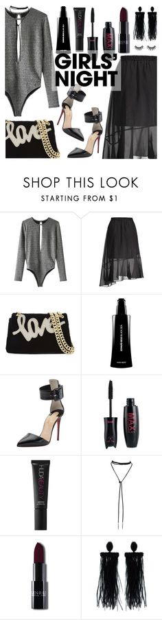 """Hey, Besties: Girls' Night"" by dora04 ❤ liked on Polyvore featuring Kurt Geiger, Edward Bess, Christian Louboutin, Huda Beauty and Oscar de la Renta"