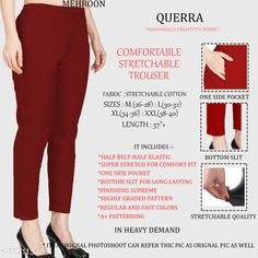 Trousers & Pants Classy Ravishing Women Women Trousers  Fabric: Cotton Lycra Sizes:  34 (Waist Size: 34 in, Length Size: 37 in)  36 (Waist Size: 36 in, Length Size: 37 in)  26 (Waist Size: 26 in, Length Size: 37 in)  38 (Waist Size: 38 in, Length Size: 37 in)  28 (Waist Size: 28 in, Length Size: 37 in)  40 (Waist Size: 40 in, Length Size: 37 in)  30 (Waist Size: 30 in, Length Size: 37 in)  32 (Waist Size: 32 in, Length Size: 37 in)  Country of Origin: India Sizes Available: 26, 28, 30, 32, 34, 36, 38, 40, 42   Catalog Rating: ★4.3 (963)  Catalog Name: Pretty Designer Women Women Trousers CatalogID_2701679 C79-SC1034 Code: 903-13711340-327