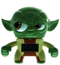 """Star Wars™ 7.5"""" Yoda Alarm. Late be not with this clock alarm. In true Yoda style from Star Wars. This clock features an LCD display and different alarm settings, making it a great way to rise in a galaxy far away. Runs on two AAA batteries."""