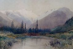 "In the Selkirks, 1909, Frederic Bell-Smith, watercolour on paper, 11.88 x 18.13 in., Canada. ""Bell-Smith traveled to the Rockies and the West Coast on several occasions between 1887 and 1918, at first on CPR passes made available by William Van Horne. In the Selkirks is painted in the high Victorian style, attempting to suggest atmosphere through blurring and smudging of washes."" Lethbridge Art Gallery, Alberta."