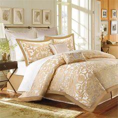 Signature Castello Gold Eight-Piece Queen Comforter Set #ComforterSets