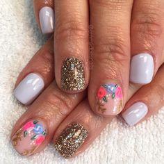 Nails gel nails mani manicure short nails cute nails pretty nails nail design nail art gel polish floral nails glitter nails lavender nails purple nails spring nails summer nails emmadoesnails