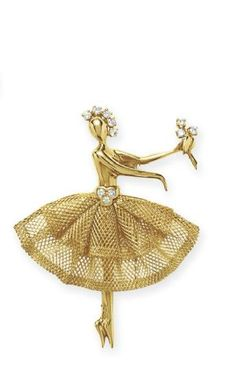 DIAMOND AND GOLD BALLERINA BROOCH, BY VAN CLEEF & ARPELS