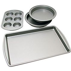 @Overstock - This professional-quality Le Chef baking pan set is suitable for most baking projects, from baking muffins, cookies, brownies and cakes to lasagnas. This carbon steel nonstick set features even heat distribution with easy and quick cleanup.http://www.overstock.com/Home-Garden/Le-Chef-Nonstick-4-piece-Bakeware-Starter-Set/5314769/product.html?CID=214117 $24.84