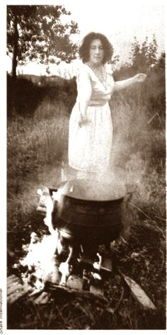 18th century witch doing a ritual with her cauldron classic..