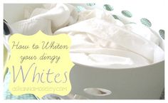 """Whiter whites - adding 1/2 c. baking soda to your usual amount of liquid laundry detergent will give you """"whiter whites"""". If you are fan of bleach {like I am} adding 1/2 c. baking soda in top-loading machines (1/4 c. for front-loaders) also increases the potency of bleach, so you need only half the usual amount of bleach."""