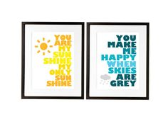 You Are My Sunshine for Ikea frame set of two by theinksociety, $32.95