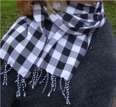 Gingham Summer Scarf, Quick and Easy Sewing Projects, How to Make a Twisted Fringe Scarf
