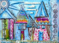 Houses WhimisicalPrint mixed media house by cathymichaelsdesign, $12.00