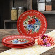 The Pioneer Woman Melody Salad Plates Set of 4 Winter Bouquet, Spring Bouquet, Pioneer Woman Dinnerware, Mexican Birthday Parties, Pioneer Woman Kitchen, Ceramic Bakeware, Gold Color Palettes, Dinner Plate Sets, Dinner Plates