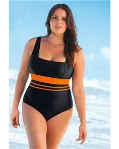 fffbbdde53372 Racer Back Swimsuit with Integral Support Bra Plus Size Swimwear