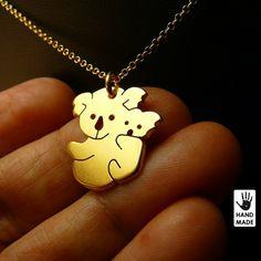 Pequeño lindo Koala oso bebé hecho a mano plata.925 por abcSilver