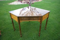 Reclaimed Rustics: Ethan Allen Corner Desk  Refinished in two tone, natural & Ebony Stain
