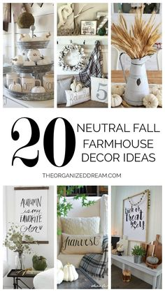 20 Neutral Fall Farmhouse Decor Ideas - The Organized Dream-Featured at the Home Matters Linky Party 149