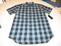 Men's Quiksilver Romsey SS short sleeve button up shirt S modern BMC1 blue plaid #Quiksilver #ButtonFront
