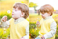 Child blowing dandelion in field of yellow spring flowers. :)