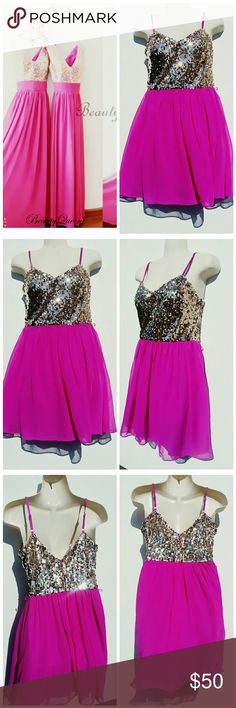 *HP 4/11* NWOT FUSCHIA & GOLD SEQUENCE DRESS 7/8 STUNNING ADRIANNA PAPELL SPECIAL OCCASION DRESS.  PROM, WEDDING, DATE NIGHT DRESS GOLD SEQUENCE AND PINK CHIFFON DRESS SIZE 7/8 BUST 16.5 WAIST 17IN  LENGTH 27 IN  BUY NOW OR BUNDLE AND SAVE! Adrianna Papell Dresses