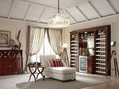 Weinregal im Wohnzimmer - Einrichtung im Kolonialstil
