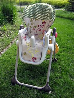 Genius idea for Moms! Recovering the fabric that comes with high chairs, etc.