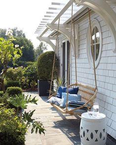 Swing into Summer: Porch Swings for Every StyleBECKI OWENS Front Yard Decor, Front Yard Design, Front Porch, Farmhouse Porch Swings, Farmhouse Decor, Beach Furniture Decor, Backyard Projects, Backyard Ideas, Garden Ideas