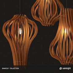 Banksia Pendant Light - Satelight - Tasmanian Oak veneer timber paneled lampshades
