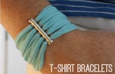 T-Shirt Bracelets - At Home with Sweet T Recycled T Shirts, Old T Shirts, T Shirt Bracelet, Diy Bracelets Tshirt, Yarn Bracelets, Sweet T, How To Make Tshirts, T Shirt Yarn, Fabric Jewelry