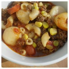 Ground beef & veggie soup. Most of the ingredients are already in your pantry!