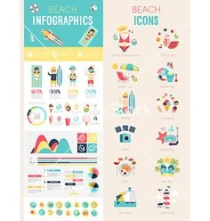 Beach infographic set vector  - by aviany on VectorStock®