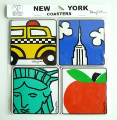 """Set of 4 New York Souvenir Coasters: NY Taxi, Empire State Building, Big Apple, and Statue of Liberty by Fifth Avenue Manufacturers. $6.99. Measures 4"""" Square. Makes the perfect NY souvenir gift. Hardboard with Cork Backing. Pop NY Art Iconic art by Mary Ellis. Our set of 4 coasters designed by Mary Ellis are perfect for your next party or for everyday use. Coasters feature an iconic Pop art  image of a NY Taxi Cab, Big Apple, Empire State Building, and Statue of Liberty. E..."""