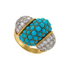 Cartier - Cartier Century Turquoise, Diamond and Gold Cocktail/Dinner Ring offered by Macklowe Gallery, Ltd on InCollect Cartier, Gold And Silver Rings, Antique Necklace, Diamonds And Gold, Diamond Brooch, Pearl Pendant, Turquoise Stone, Turquoise Bracelet, Diamond Cuts