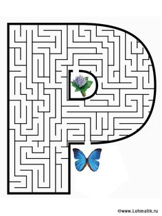 Free printable Maze in the shape of letter P. Help the pony find the peanuts in this free printable maze of the letter P Letter P Worksheets, Letter P Activities, Maze Worksheet, File Folder Activities, Craft Activities For Kids, Kindergarten Worksheets, Worksheets For Kids, Alphabet Games, Teaching The Alphabet