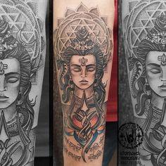Arm Tattoos For Guys, Leg Tattoos, Tattos, Sleeve Tattoos, Krishna Tattoo, Mahadev Tattoo, Hindu Tattoos, Shiva Tattoo Design, Best Tattoo Shops