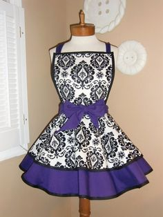 Damask Print Accented with Deep Purple Womans Retro by mamamadison, $42.50