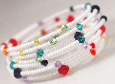 Best Bracelet Perles 2017/ 2018 : Memory wire bracelet rainbow multicolored Swarovski crystals black/white seed be