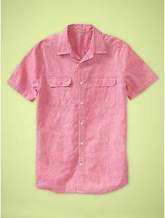 Linen striped shirt (original fit)   Gap